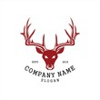 Simple deer head logo vector icon. elk moose forest with Silhouette light line art classic modern look. For cool shirt cloth apparel graphic, game smart phone app brand. Quiet friendly group gathering