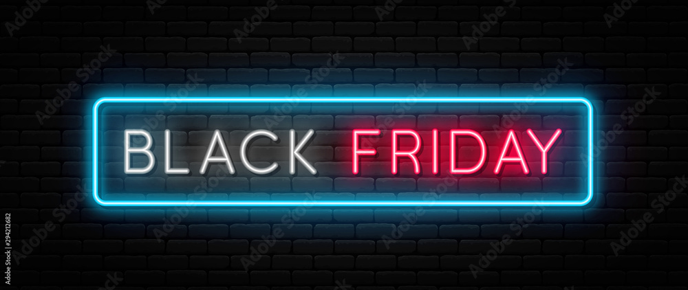 Fototapeta Black Friday sale. Black Friday neon sign on brick wall background. Glowing white and red neon text in blue frame for advertising and promotion. Banner and background, brochure and flyer design