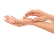 Leinwanddruck Bild - Young woman showing hands on white background, closeup