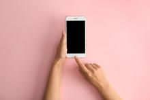 Woman Holding Modern Phone On ...