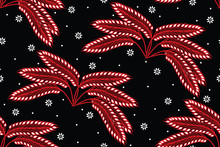 Seamless Pattern With Floral Vector Illustration, Modern Batik Motif