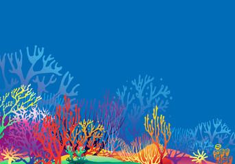 Fototapeta na wymiar Underwater reef landscape with Coral silhouettes