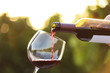 canvas print picture - Woman pouring wine from bottle into glass outdoors, closeup