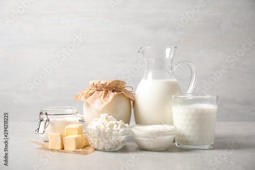 Fotografia, Obraz  Different delicious dairy products on light table