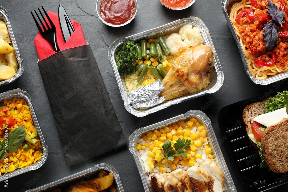 Fototapety, obrazy: Lunchboxes on grey table, flat lay. Healthy food delivery