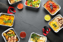 Frame Made Of Lunchboxes On Grey Table, Flat Lay With Space For Text. Healthy Food Delivery