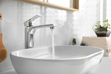 Stylish White Sink In Modern B...