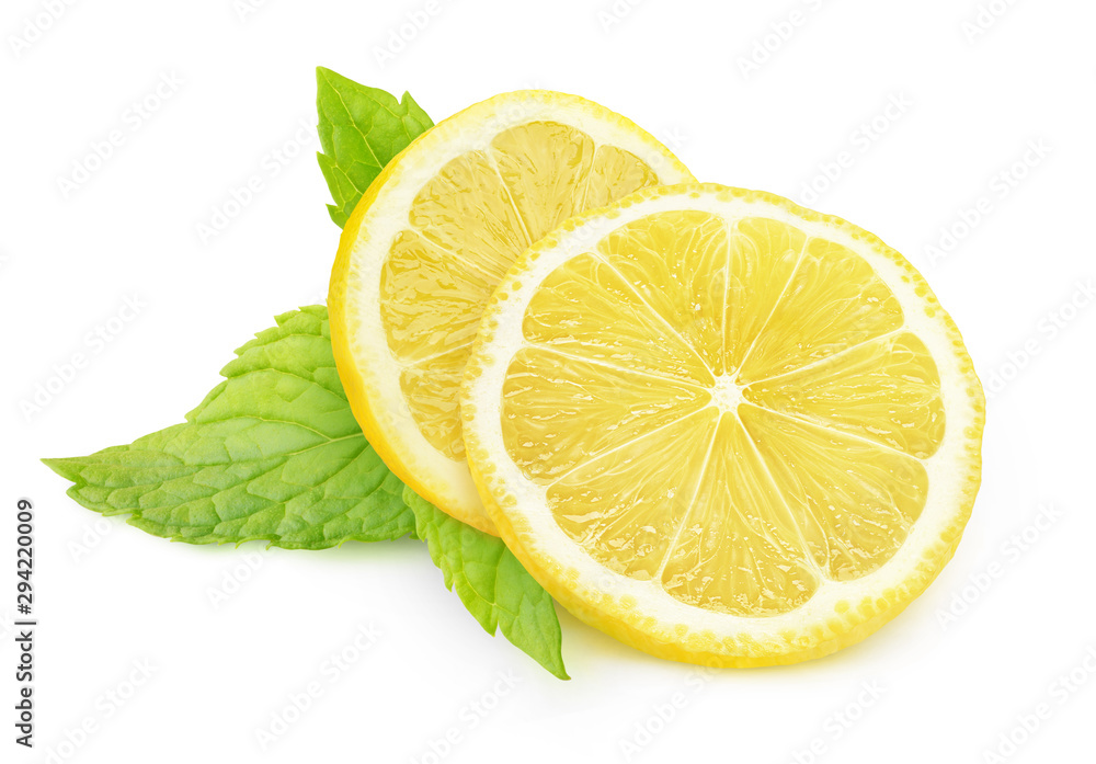 Fototapeta Isolated lemon and mint. Two pieces of lemon fruit and fresh mint leaves isolated on white background with clipping path