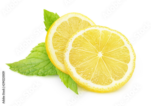 Fototapeta Isolated lemon and mint. Two pieces of lemon fruit and fresh mint leaves isolated on white background with clipping path obraz