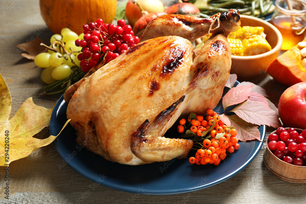 Fototapety, obrazy: Composition with delicious turkey on wooden background. Happy Thanksgiving day