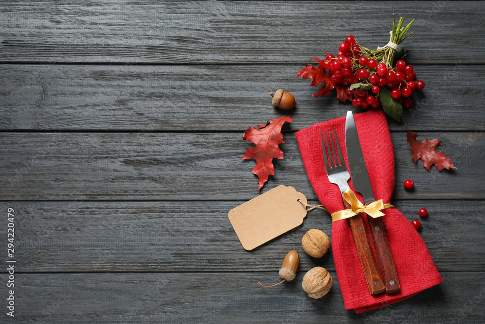 Fototapety, obrazy: Flat lay composition with cutlery and autumn decoration on grey wooden background, space for text. Happy Thanksgiving day