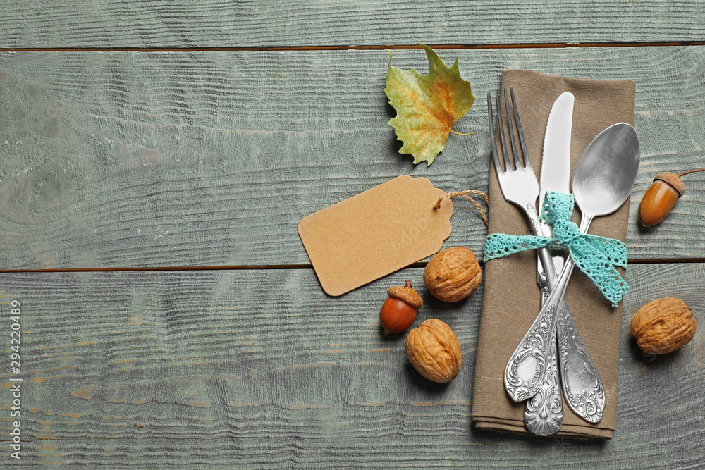Fototapety, obrazy: Flat lay composition with cutlery and autumn decoration on blue wooden background, space for text. Happy Thanksgiving day