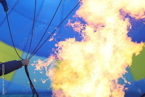 Inflating a hot air balloon.