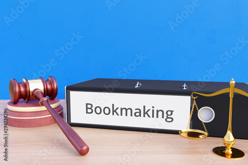 Fotografija  Bookmaking – Folder with labeling, gavel and libra – law, judgement, lawyer