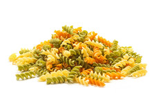 Fusilli Tricolore Raw Dry Pasta Pile Isolated On White