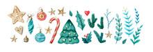 Watercolor Set Of Christmas An...