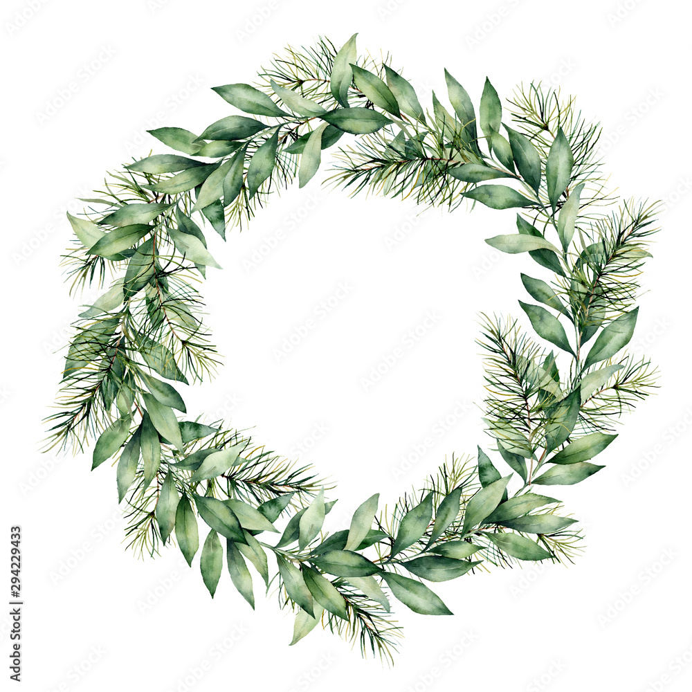 Fototapeta Watercolor winter wreath with eucalyptus and fir branch. Hand painted eucalyptus leaves and pine needle isolated on white background. Holiday floral illustration for design, print or background.