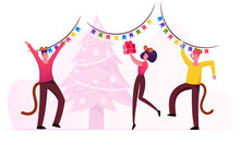 2020 New Year Party Celebration. Group Of Cheerful People, Friends Company Wearing Mouse Costumes Dancing Around Decorated Fir Tree. Girl Hold Wrapped Gift In Hands. Cartoon Flat Vector Illustration