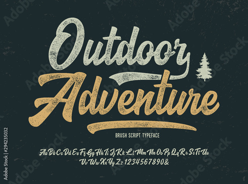 Fotografía Vintage Brush Font. Retro Typeface. Vector Illustration.