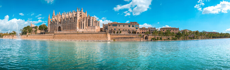 Panorama of the promenade of Palma de Mallorca. The Cathedral of Santa Maria ...