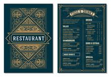 Vintage Template For  Restaurant Menu Design. Vector Layered.