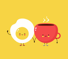 Cute Happy Fried Egg And Coffe...