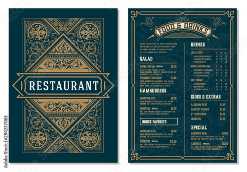 Obraz Vintage template for  restaurant menu design. Vector layered. - fototapety do salonu