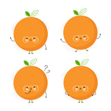 Cute Happy Orange Fruit Set. Isolated On White Background. Vector Cartoon Character Illustration Design,simple Flat Style. Orange Character Bundle, Collection Concept