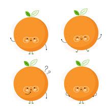 Cute Happy Orange Fruit Set. I...