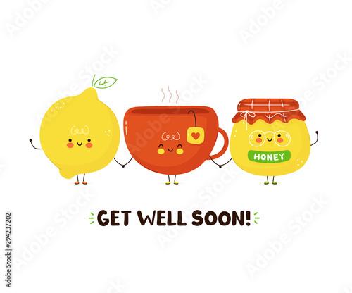 Valokuva Cute happy tea cup,honey and lemon