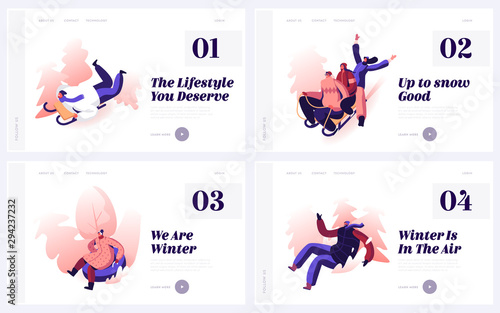 Active Winter Games on Street Website Landing Page Set. Happy People Riding Sleds and Tubings by Snow Slopes during Winter Time Season Holidays Weekend Web Page Banner Cartoon Flat Vector Illustration
