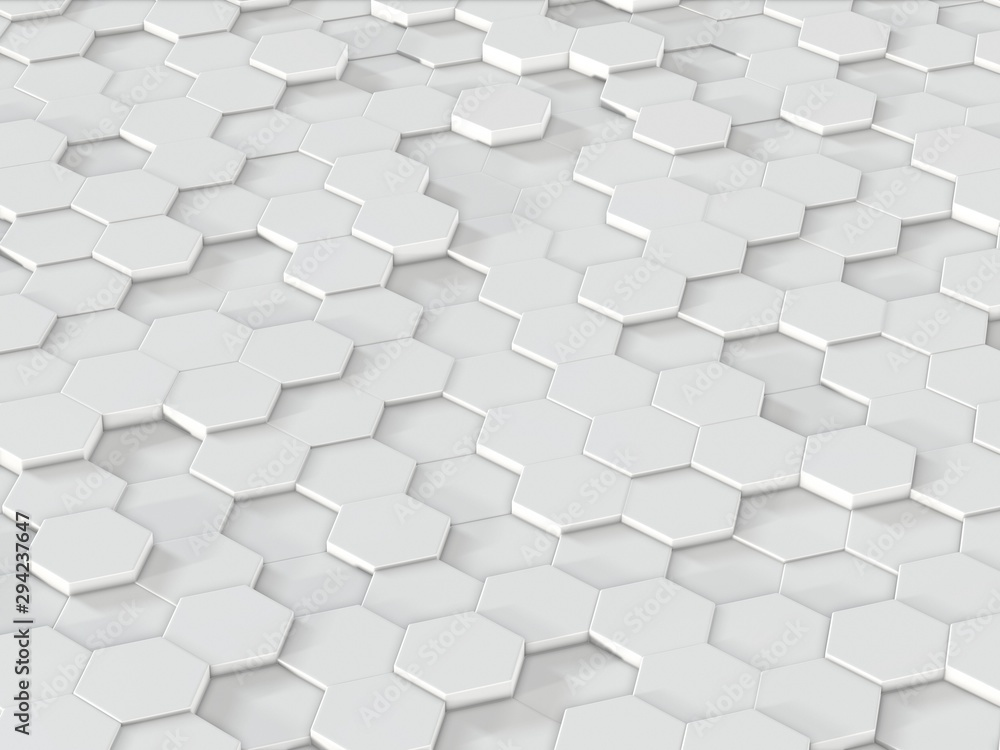 Abstract hexagons backdrop. 3d rendering geometric polygons.