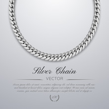 Luxury Banner With Silver Chain Jewelry. Leaflet, Voucher, Banner, Template, Vip Invitations And Coupon.