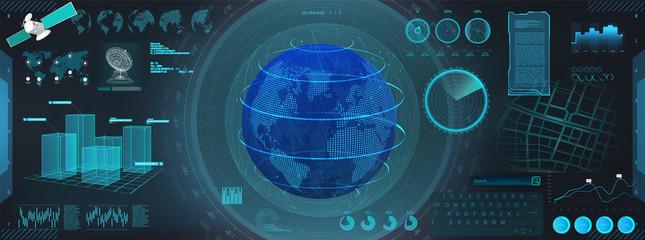 GUI earth globe in HUD style. Futuristic interface and hologram Earth globe. Command center dashboard, Futuristic User Interface HUD. Scan of the globe. Vector illustration fui, world map.