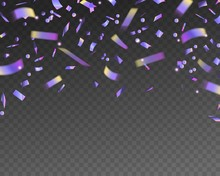 Holographic Falling Confetti. Realistic Tinsel With Iridescent Texture, Glitter Foil Hologram Pieces, Christmas Banner Vector Background
