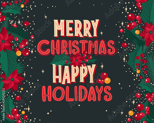 Obraz Christmas and New Year background for holiday party. Vector illustration with festive lettering season wishes. - fototapety do salonu