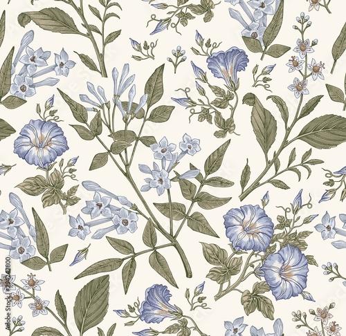 Tapety Retro  wzor-piekna-tkanina-kwitnaca-realistyczne-kwiaty-na-bialym-tle-tlo-zestaw-polne-kwiaty-jasmine-petunia-croton-tapeta-barokowa-grawerowanie-rysunku-ilustracja-wektorowa-wiktorianski