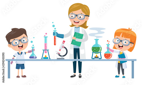 Obraz Little Students Doing Chemical Experiment - fototapety do salonu