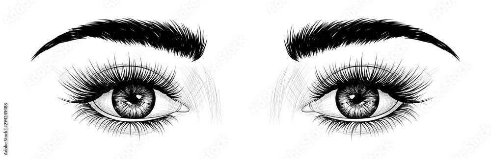 Fototapeta Fashion illustration. Black and white hand-drawn image of eyes with eyebrows and long eyelashes. Vector EPS 10.