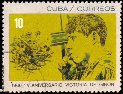 Stamp dedicated to the anniversary of the battle in Cuba in 1961 Playa Giron in the Bay of Pigs Canvas-taulu