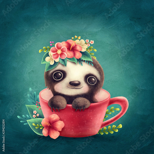 Vászonkép Illustration of a cute Sloth