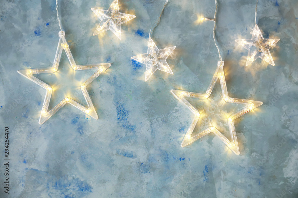 Fototapety, obrazy: Beautiful glowing garland on color background