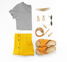 Modern Female Look With Stylish Accessories On White Background
