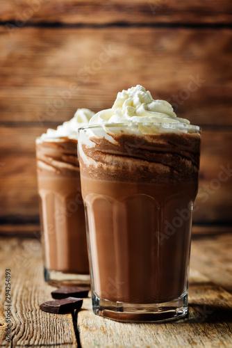 Foto op Plexiglas Chocolade Dark hot chocolate with whipped cream