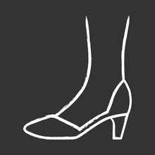 Court Shoes Chalk Icon. Woman Stylish Formal Footwear Design. Female Casual Stacked Kitten Heels, Luxury Modern Pumps. Office Fashion, Clothing Accessory. Isolated Vector Chalkboard Illustration