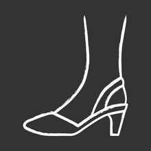Slingback High Heels Chalk Icon.Woman Stylish And Classic Footwear Design. Female Formal D Orsay Shoes Side View. Fashionable Chic Clothing Accessory. Isolated Vector Chalkboard Illustration