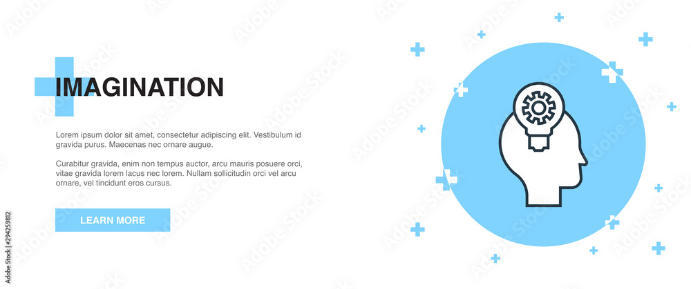 Fototapeta imagination icon, banner outline template concept. imagination line illustration