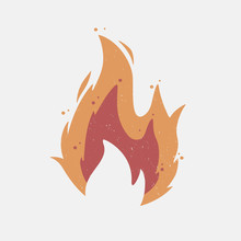 Fire Flame Icon With Grunge Te...