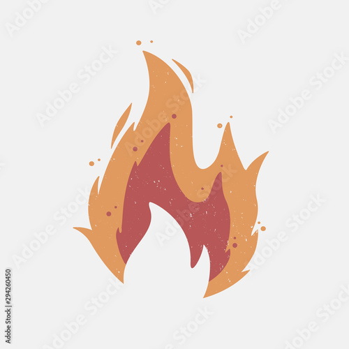 Tablou Canvas Fire flame icon with grunge texture