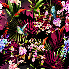 Fototapeta Współczesny Seamless floral pattern with humming bird, flowers and leaves on tropical background. Hand drawn, vector - stock.